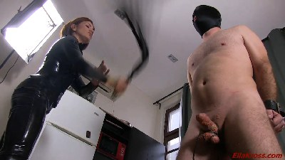 Slapping My Slave's Face, Cock, and Balls!