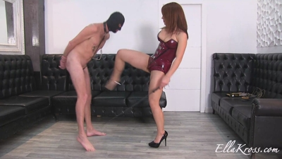 Slave Can`t Handle His First Ball Busting!
