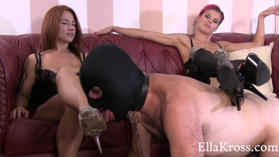 Slave Licks Our Shoes Clean Featuring Mistress Anna!