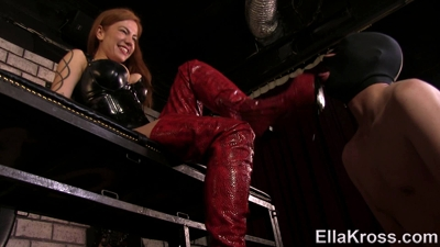 Slaves Licks My New Thigh-High Leather Boots Clean!