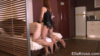 Slave Gets His Virgin Ass Rammed with a Strap-On!